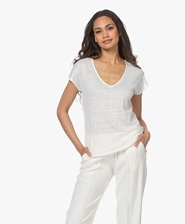 indi & cold Linen V-neck T-shirt - Crudo