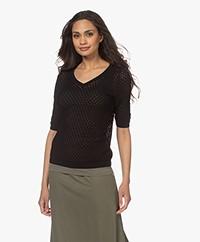 Kyra & Ko Birgit Cotton Ajour Short Sleeve Sweater - Black