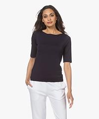 LaSalle Tencel Boothals T-shirt - Navy