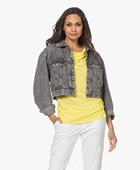 American Vintage Tizanie Cropped Denim Jacket - Bleached Grey
