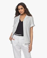 Closed Harlyn Gestreept Overhemd met Korte Mouwen - Off-white/Zwart