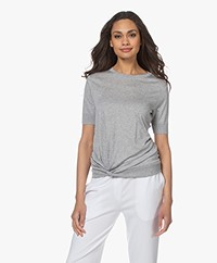 Repeat Lyocell Blend Short Sleeve Sweater with Knot Detail - Grey