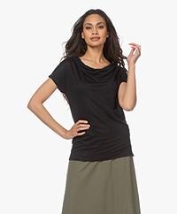 Kyra & Ko Alita Linen Jersey T-shirt - Black