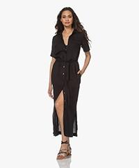 Kyra & Ko Fiebe Linen Maxi Shirt Dress - Black