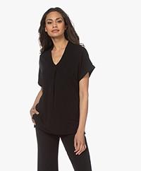 Kyra & Ko Selma Crêpe Jersey T-shirt - Zwart