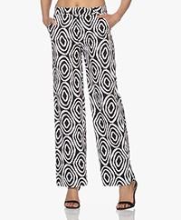 Kyra & Ko Florice Stretch-Cotton Print Pants - Black/White