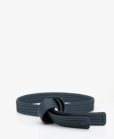 Closed Quilted Leather Tie Belt - Blue Slate