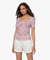 Majestic Filatures Striped Viscose and Linen U-neck T-shirt - Blush