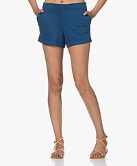 Majestic Filatures Jersey Linen Blend Shorts - Indigo