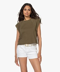 FRAME Rolled Up Mouwloos Cropped Sweatshirt - Washed Moss