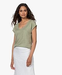 by-bar Mila Linnen V-hals T-shirt - Bright Olive