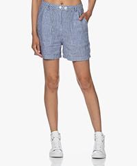 Denham Jodie Striped Linen Shorts - Blue