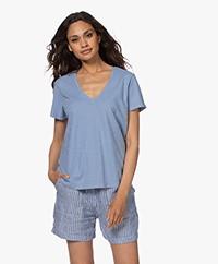 Denham Ramona Slub Jersey T-shirt - Stonewash Blue