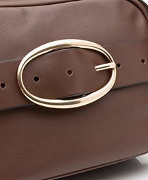 Vanessa Bruno Mini Iris Calfskin Leather Shoulder/Cross-body Bag - Chocolat
