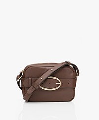 Vanessa Bruno Mini Iris Kalfsleren Schoudertas/Cross-body Tas - Chocolat