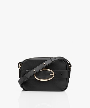 Vanessa Bruno Mini Iris Kalfsleren Schoudertas/Cross-body Tas - Zwart