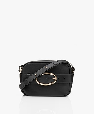 Vanessa Bruno Mini Iris Calfskin Leather Shoulder/Cross-body Bag - Black