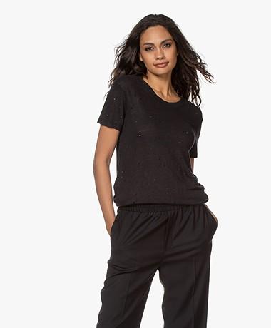 IRO Clay Distressed Linen T-shirt - Black