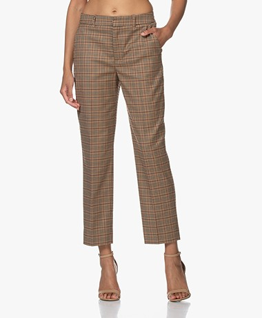 Drykorn Search Geruite Cropped Pantalon - Toasted Coconut
