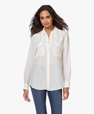 Equipment Signature Washed-silk Shirt - Nature White