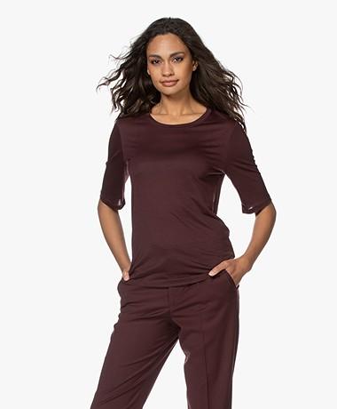 Filippa K Elena Tencel Elbow-length Sleeve T-shirt - Maroon