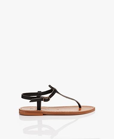 K. Jacques St. Tropez Picon Leather Sandals - Black