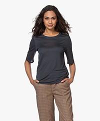 Filippa K Elena Tencel Elbow-length Sleeve T-shirt - Pacific Blue