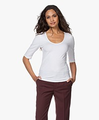 Filippa K Cotton Stretch Scoop Neck T-Shirt - White
