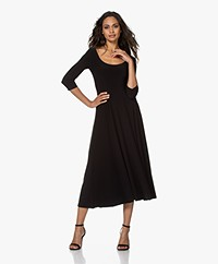 Norma Kamali Reversible Tech Jersey Fit & Flare Dress - Black