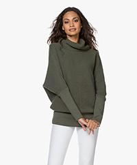 Sibin/Linnebjerg Tut Pullover with Draped Cowl - Melange Green