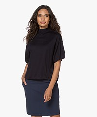 Drykorn Bayra Fine Knit Short Sleeve Turtleneck Sweater - Dark Navy