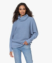 Sibin/Linnebjerg Tut Pullover with Draped Cowl - Light Denim Blue