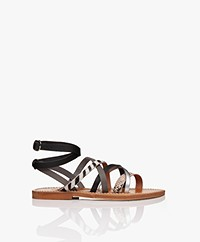 K. Jacques St. Tropez Aphrodite Leather Sandals - Combi/Black
