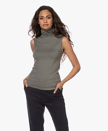 Majestic Filatures Soft Touch Jersey Turtleneck Top - Graphite