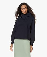 ba&sh Daren Hooded Sweatshirt with Rhinestone Buttons - Dark Blue