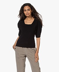 ba&sh Fleur Short Puff Sleeve Sweater - Black