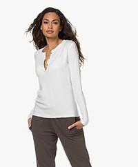 ba&sh Cristal Cotton-Modal Blend Henley Long Sleeve - Ecru