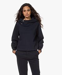 ba&sh Daren Capuchon Sweatshirt met Strassknopen - Donkerblauw