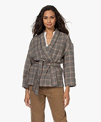 Pomandère Houndstooth Kimono Blazer - Dark Grey