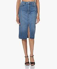 ba&sh Dona Denim Pencil Skirt with Slit - Blue