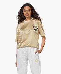 Dolly Sports Team Dolly Geperforeerd Mesh Print T-shirt - Lichtbeige