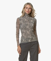 no man's land Slangenprint Mesh Colshirt - Concrete