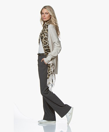 Belluna Stefanella Leopard Scarf - Greige