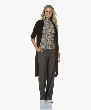 Repeat Luxury Long Pure Cashmere Cardigan - Black