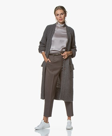 Repeat Luxury Long Cashmere Blend Cardigan - Musk