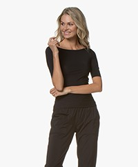 Filippa K Soft Sport Slim Mid sleeve Top - Zwart