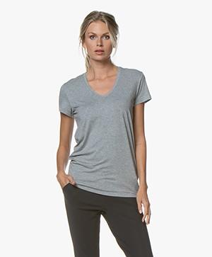 By Malene Birger Fevia  Stretch-blend T-shirt - Grey Melange