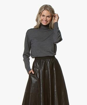 Drykorn Aluna Fine Knitted Turtleneck Sweater - Dark Grey Melange