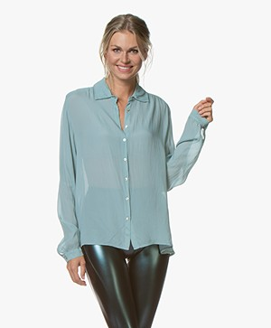 BY-BAR Keetje Silk Blend Crepe Blouse - Steel Blue