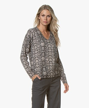 Repeat Cashmere Snake Print Sweater  - Beige/Black